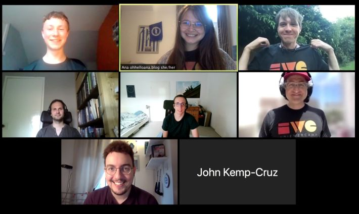 Nine participants of HWC Europe/London on Zoom call