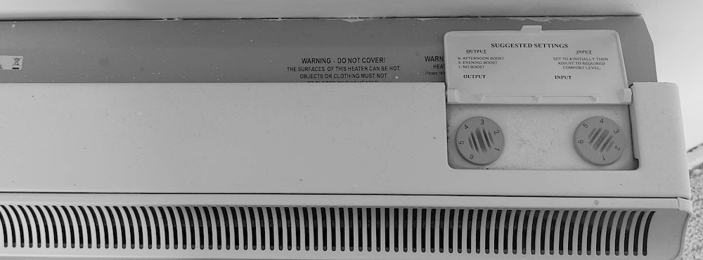 Economy 7 heater with controls shown