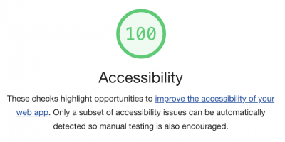 Lighthouse audit tool showing 100 Accessibility