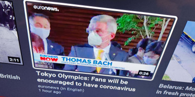 YouTube SmartTV app for with Euronews video thumb titled Tokyo Olympics: Fans will be encouraged to have coronavirus