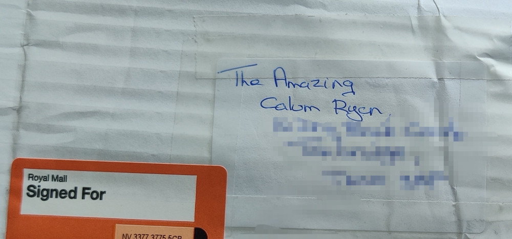 parcel addressed The Amazing Calum Ryan