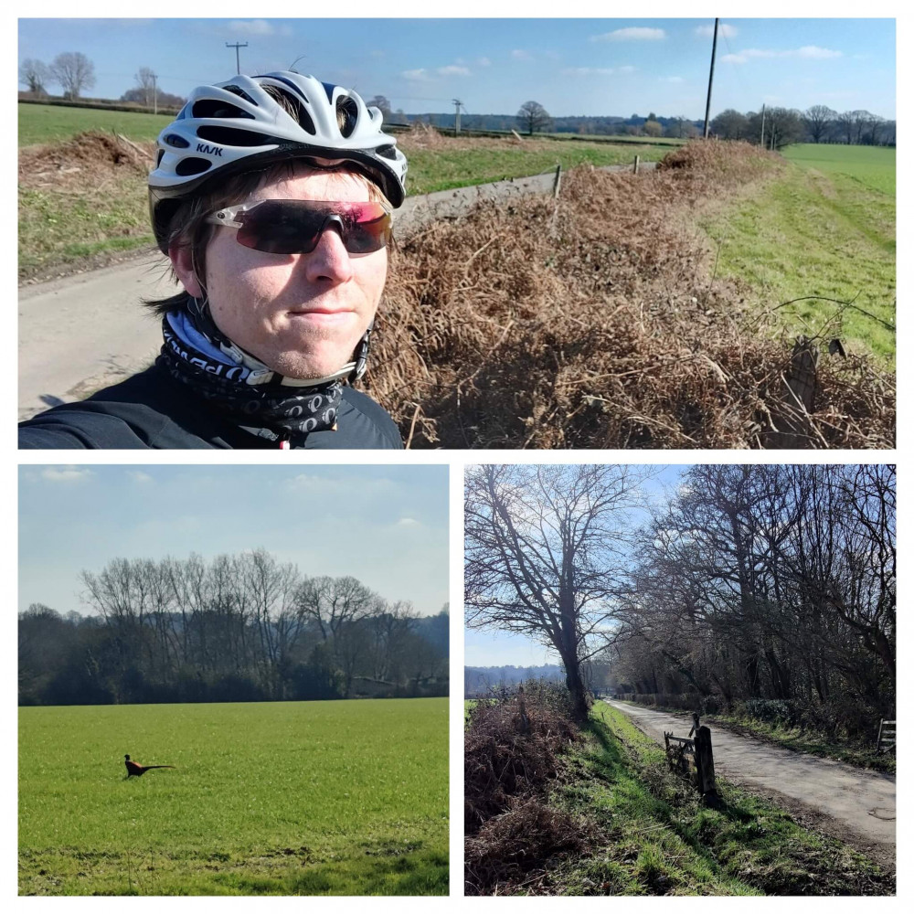 3-photo collage of Calum in cycle helmet and red sunglasses on a country in West Sussex, a pheasant and gated bridleway