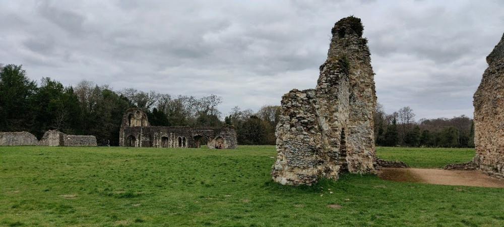 Waverley Abbey beneath a grey sky