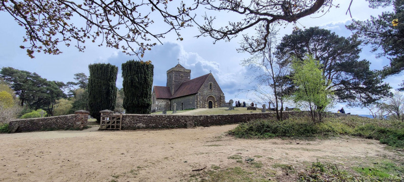 St Martha's Church view from below with cloudy sky
