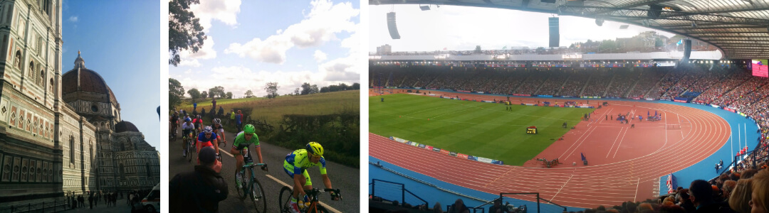 Left to right Florence cathedral, Tour de France in Yorkshire, Commonwealth Games stadium in Glasgow