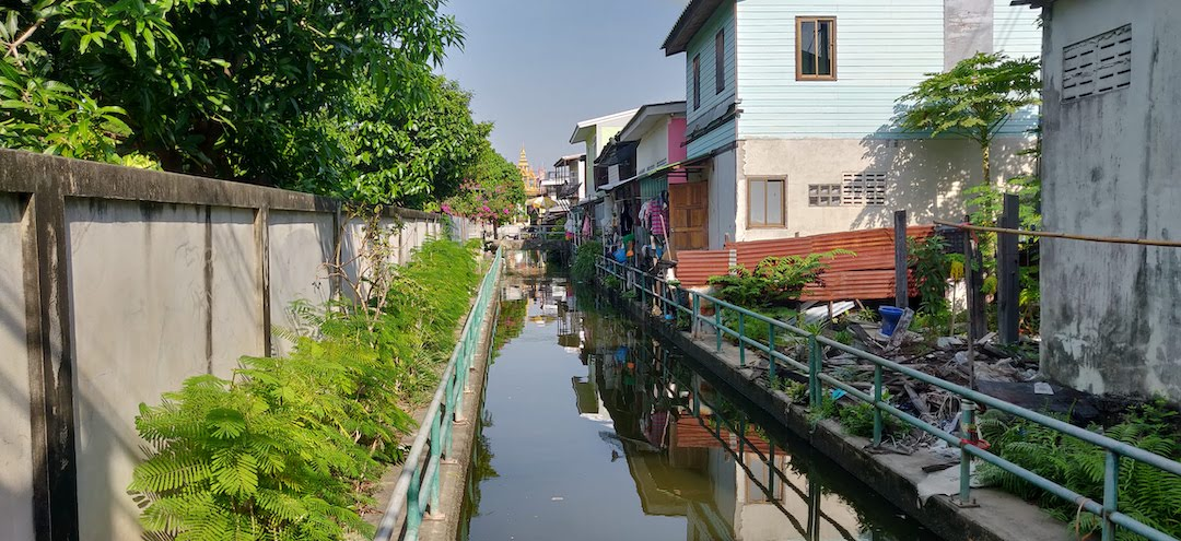 Residential area of Bangkok with waterway intact