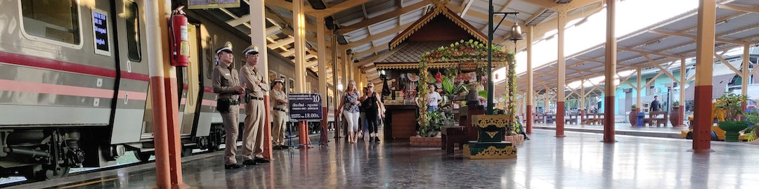 Staff on the platform at Chiang Mai railway station
