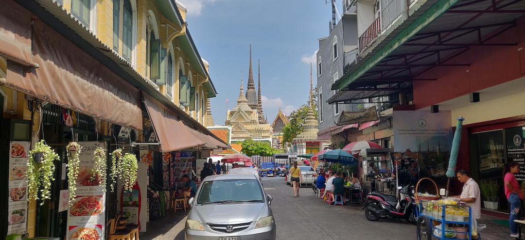 View of Wat Pho from Tha Tian Market