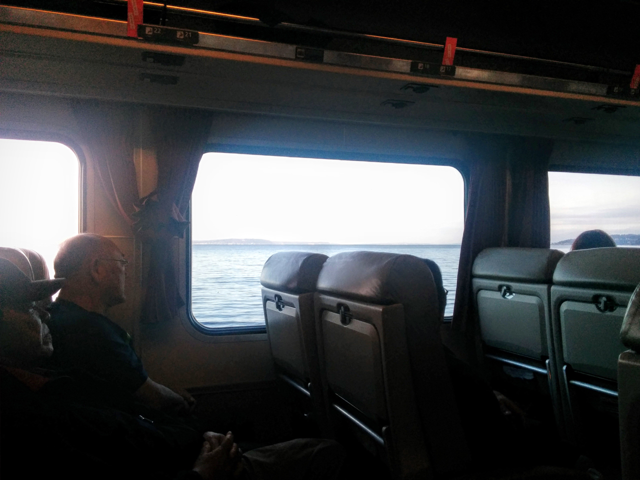 On board train overlooking Pacific
