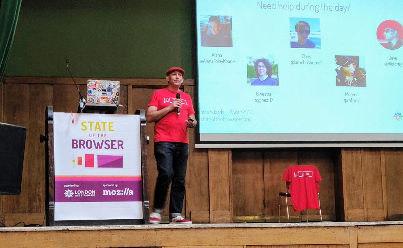 Dave Letorey at Conway Hall introduction to State of the Browser 2019
