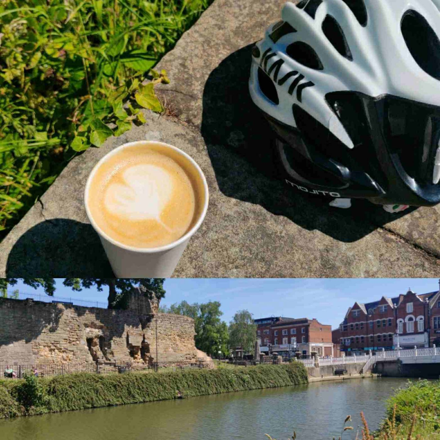 River Medway at Tonbridge and café latte