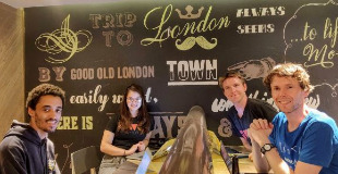 Ana Rodrigues, Calum Ryan, Bobby Sebolao, Neil Mather inside at ProvenDough cafe, London Covent Garden
