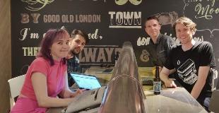 Lillian Karabaic, Josué Vázquez Rendo, Calum Ryan, Neil Mather inside at ProvenDough cafe, London Covent Garden 2019-08-21