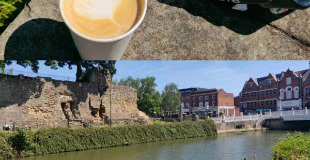 River Medway at Tonbridge and café latte