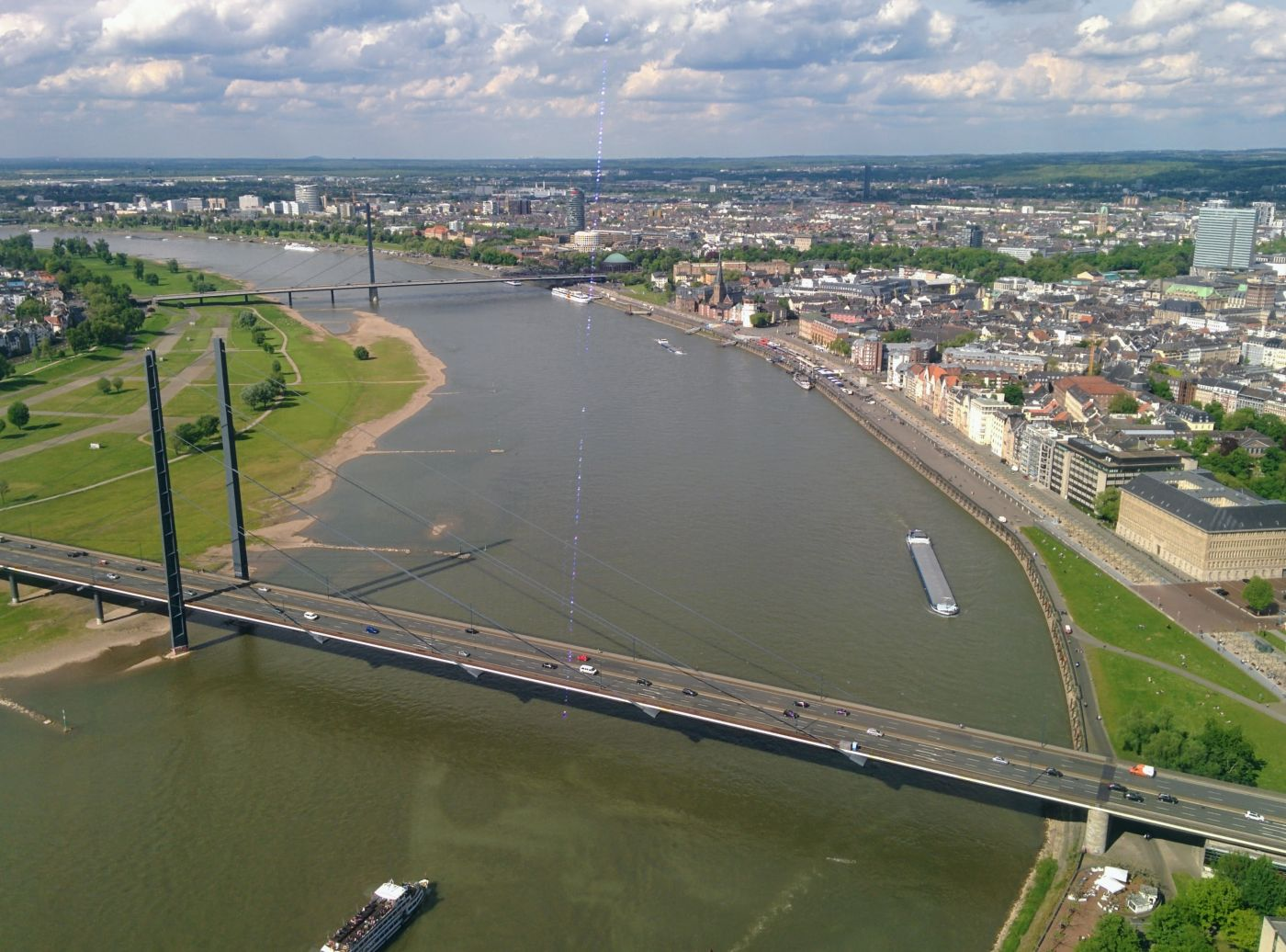 View of Düsseldorf and the River Rhine taken in 2017 from Rhine Tower