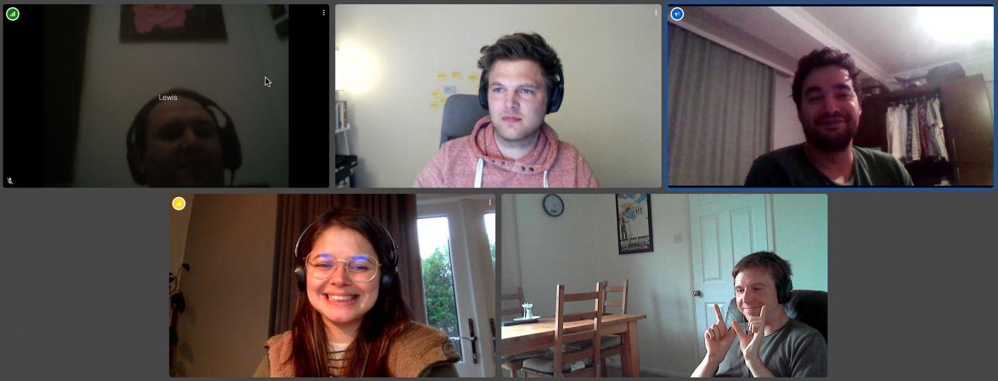 Left to right webcam shots of Lewis Cowles, Jan Sauer, Çağrı Özkan, Ana Rodrigues, Calum Ryan